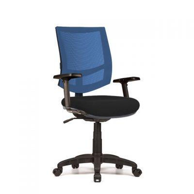 Silla Trekin Q1 media malla color Azul y tapizado color Negro. Brazos (Twist 3D)