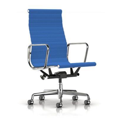 Eames Aluminum Group Executive Chair Tapizado Cobalt Blue Hopsak Fabric
